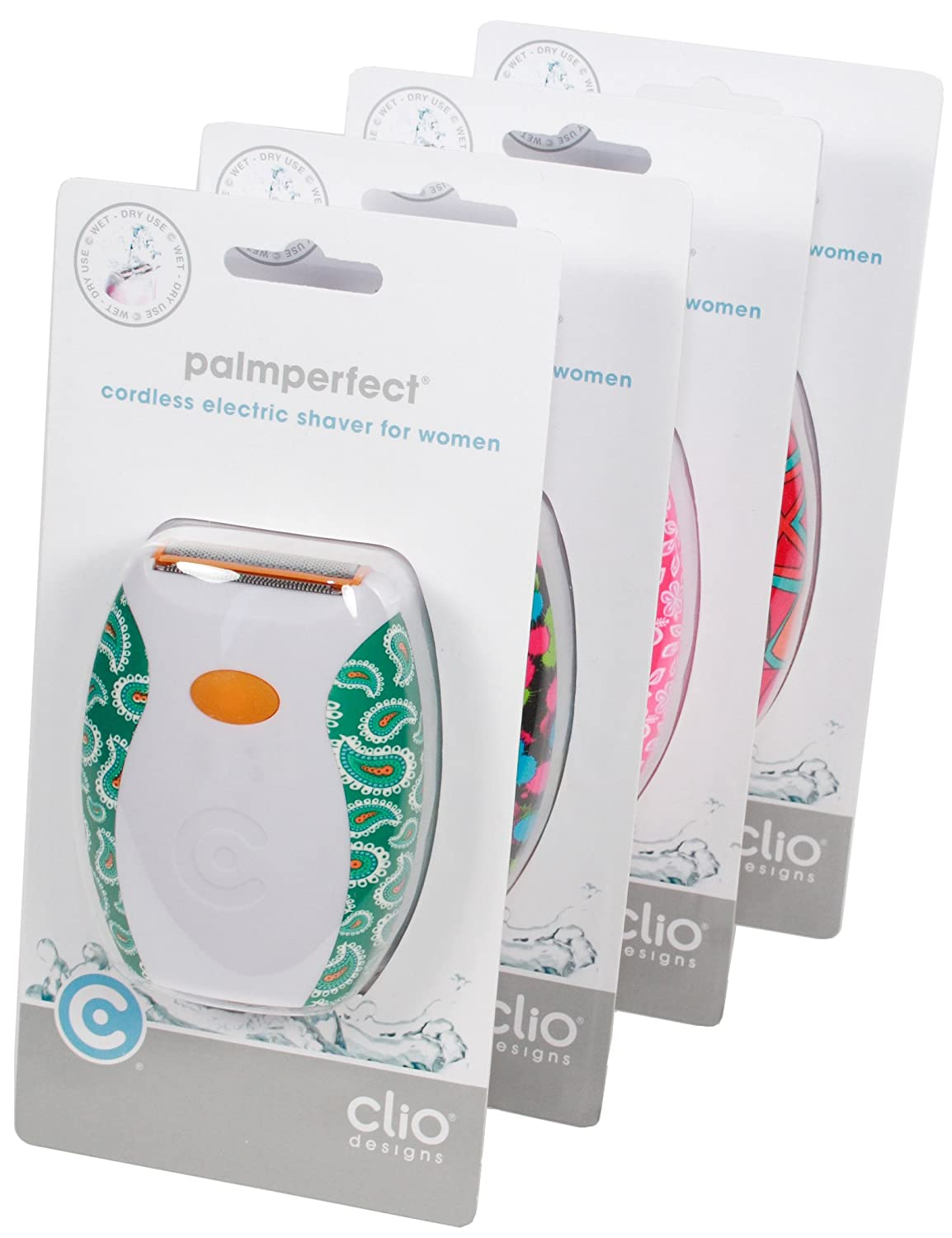 Clio Designs Palmperfect Electric Shaver in Patterns, Color and Pattern may vary 3801SSB