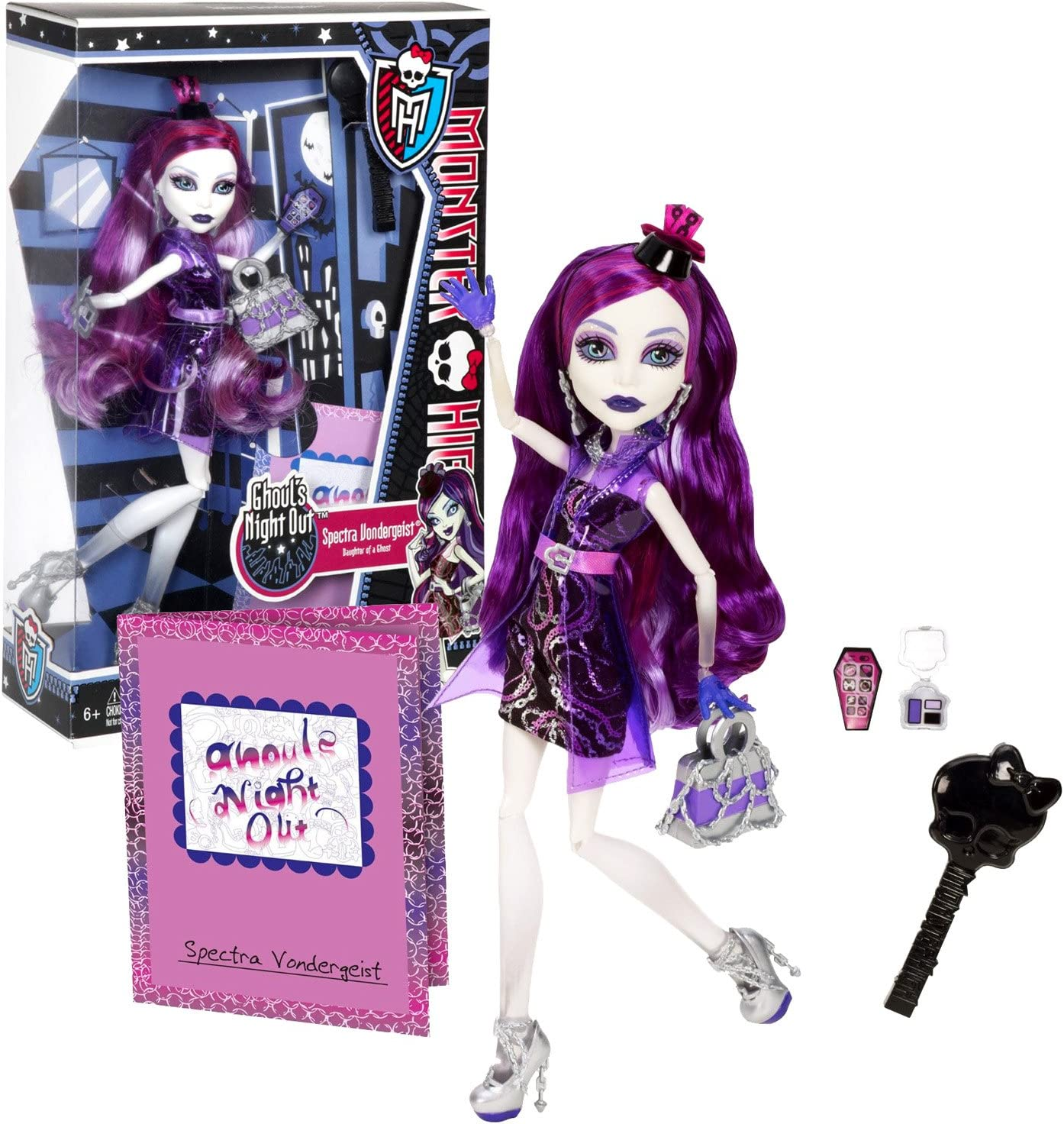 Amazon Com Monster High Mattel Year 2012 Ghoul S Night Out Series 11 Inch Doll Set Spectra Vondergeist Daughter Of A Ghost With Smartphone Cosmetic Accessories Purse Hairbrush And Doll Stand Toys Games