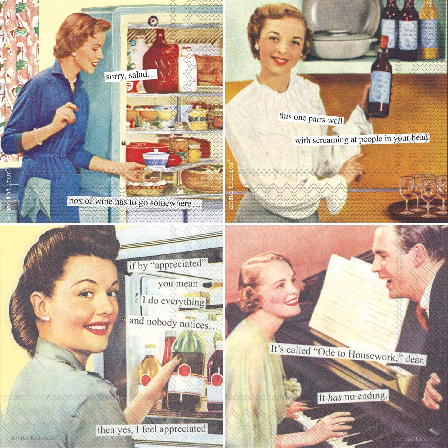 Humorous Cocktail Napkins for Women - Anne Taintor Funny Assorted Gift Boxed Variety Pack 40 Total