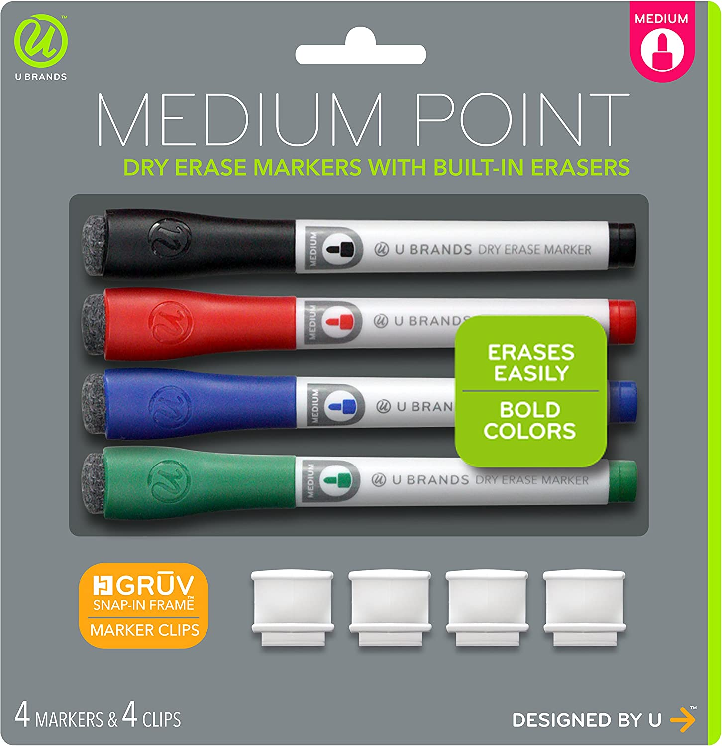 U Brands Low Odor Dry Erase Markers With Erasers, Medium Point, Assorted Classic Colors, With Gruv Marker Clips, 4-Count