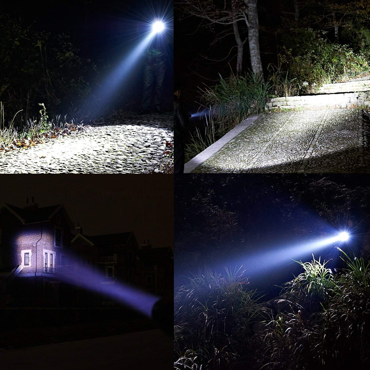 3 Pack TC1200 Flashlight Military Grade Tactical Waterproof Led Flashlights As Seen on TV XML T6 Taclight with Adjustable Focus and 5 Light Modes for Camping Hiking Emergency Hurricane Gift-giving