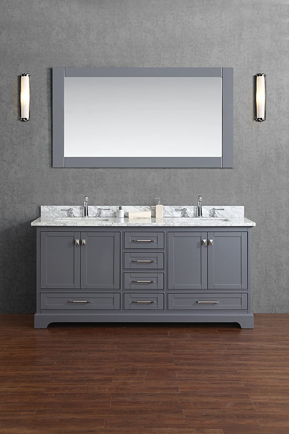 Stufurhome HD 7130G 72 CR Newport Double Sink Bathroom Vanity With Mirror,  72 Inch, Grey     Amazon.com