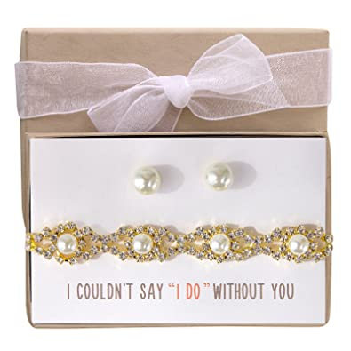 39e168548 Amazon.com: AMY O Wedding Jewelry Set, Bracelet and Earring Set Gift for  Bridesmaids or Bridal Party: Jewelry