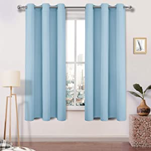 DWCN Blackout Curtains Thermal Insulated Room Darkening Window Curtain 38 x 63 inch Length, Living Room and Bedroom Curtains, Light Blue, 2 Panels