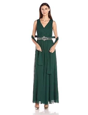 c047b74d305 Jessica Howard Women s Basketweave V-Neck Beaded Waist Dress with Shirred  Skirt