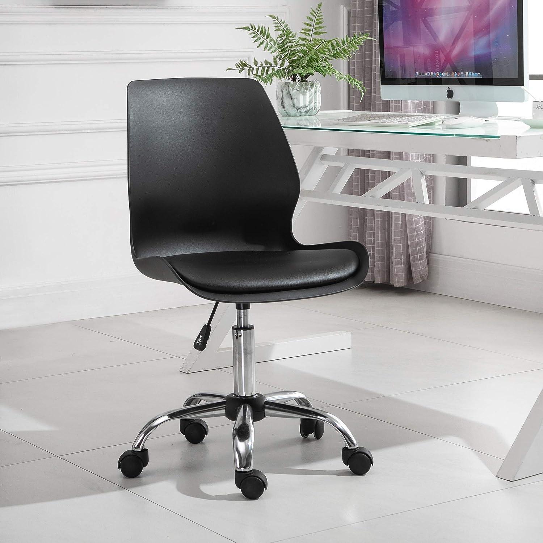 Chaise de bureau design contemporain hauteur r/églable pivotant 360/° pi/ètement chrom/é lin gris clair