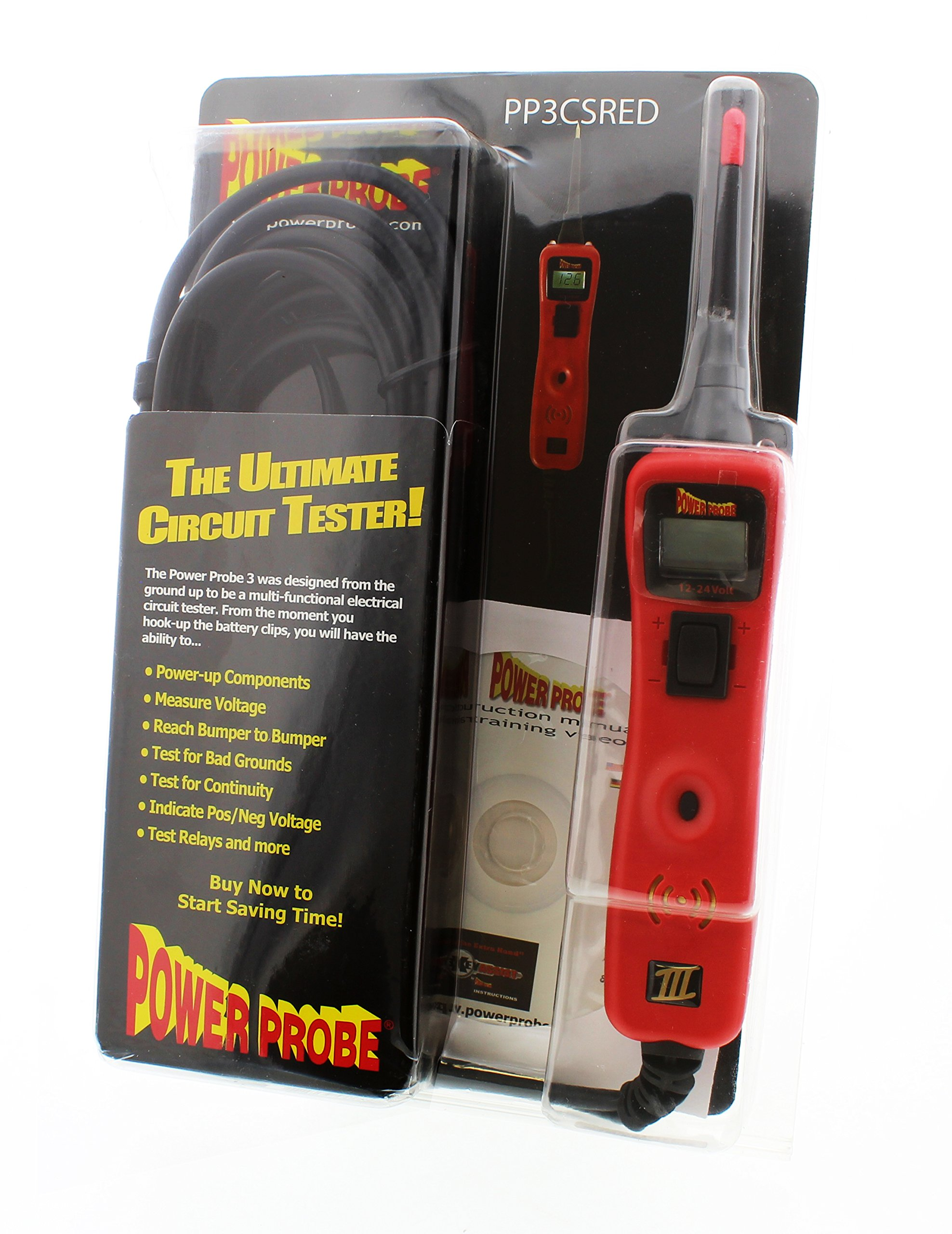 Power Probe III Clamshell - Red (PP3CSRED) [Car Automotive Diagnostic Test Tool, Digital Volt Meter, AC/DC Current Resistance, Circuit Tester] by Power Probe