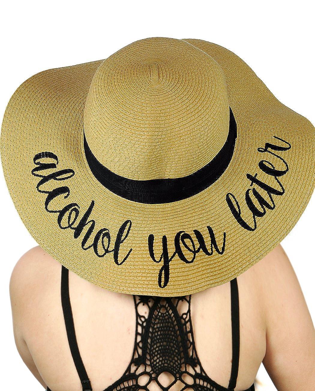 92de9d22d43 C.C Women s Paper Weaved Crushable Beach Embroidered Quote Floppy Brim Sun  Hat
