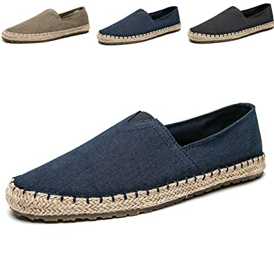 21a1d54b4f4 CASMAG Men s Slip-On Loafers Flat Canvas Boat Shoes for Driving Walking  Weeding Outdoor Blue