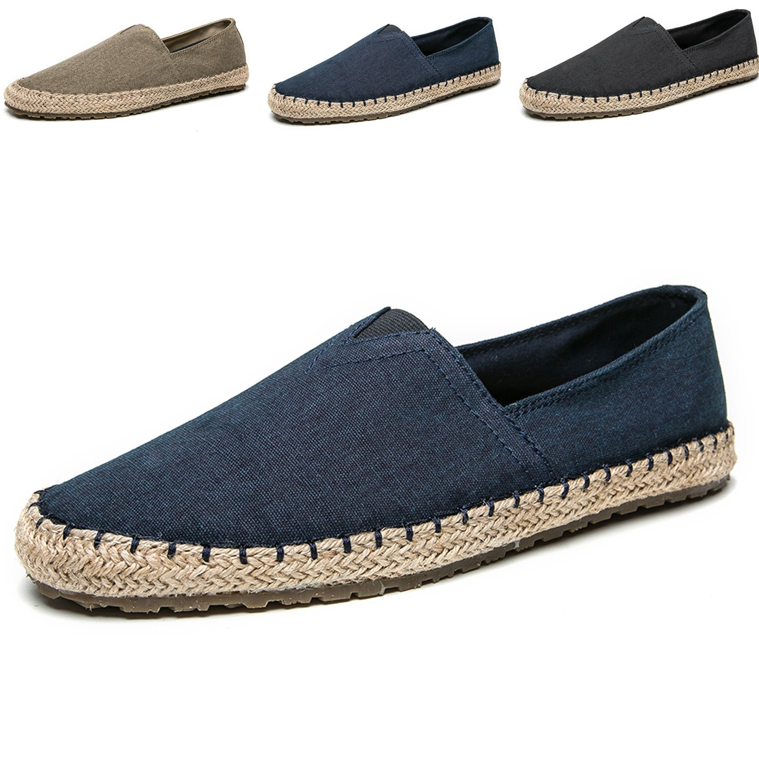 Men's Casual Cloth Shoes Canvas Slip on Loafers Espadrille Leisure Breathable Shoes Blue 11.5M US