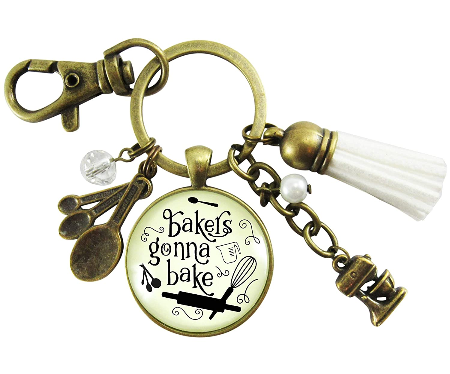Amazon.com  Baking Keychain Bakers Gonna Bake Jewelry For Women Gift Retro  Inspired Culinary Pendant Mixing Bowl Charm  Handmade 81e97d332