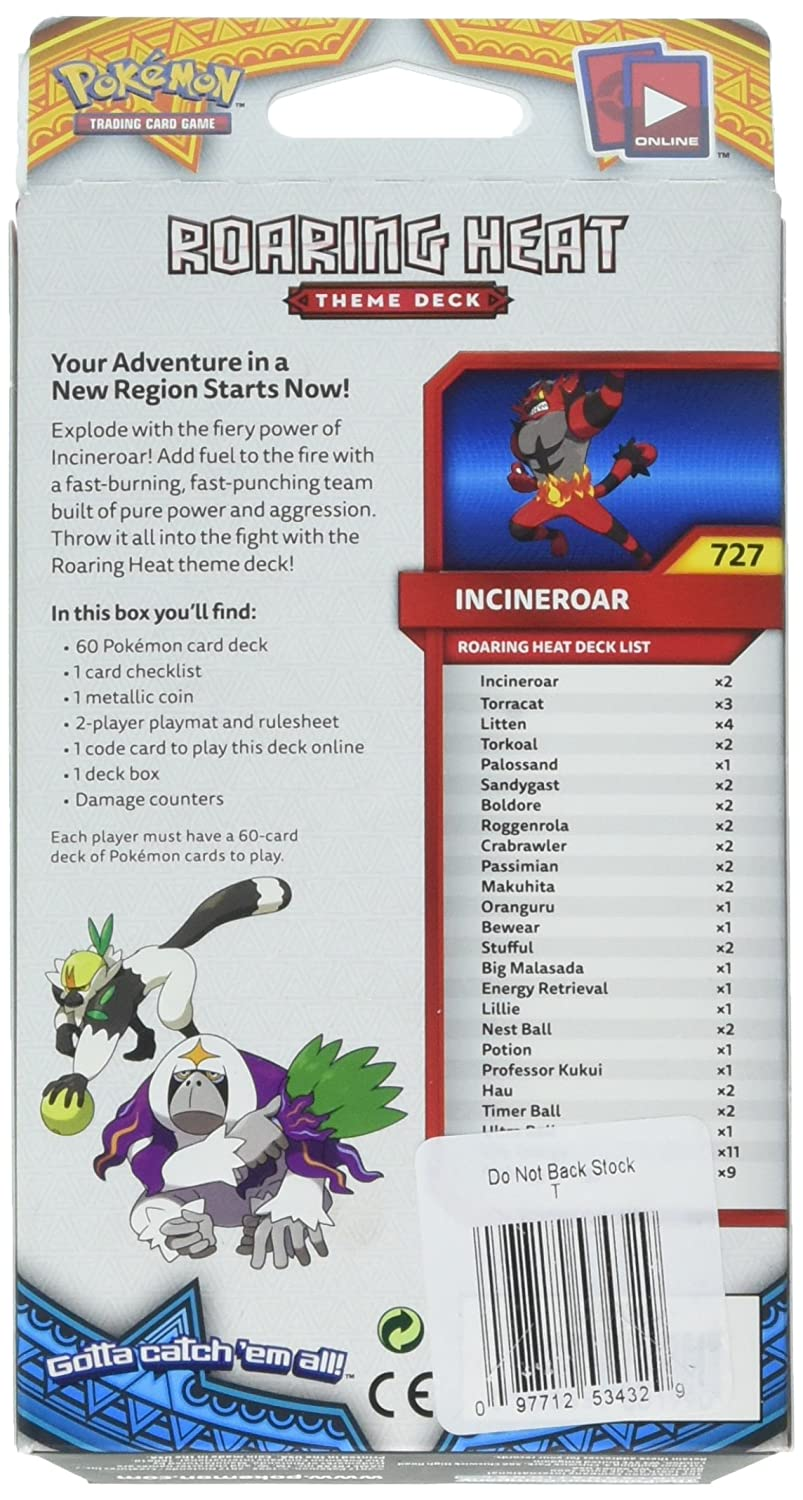 Pokemon TCG: Sun & Moon - Incineroar Roaring Heat Theme Deck | Full Ready  to Play Deck of 60 Cards | Includes Cracked Ice Holofoil Version of