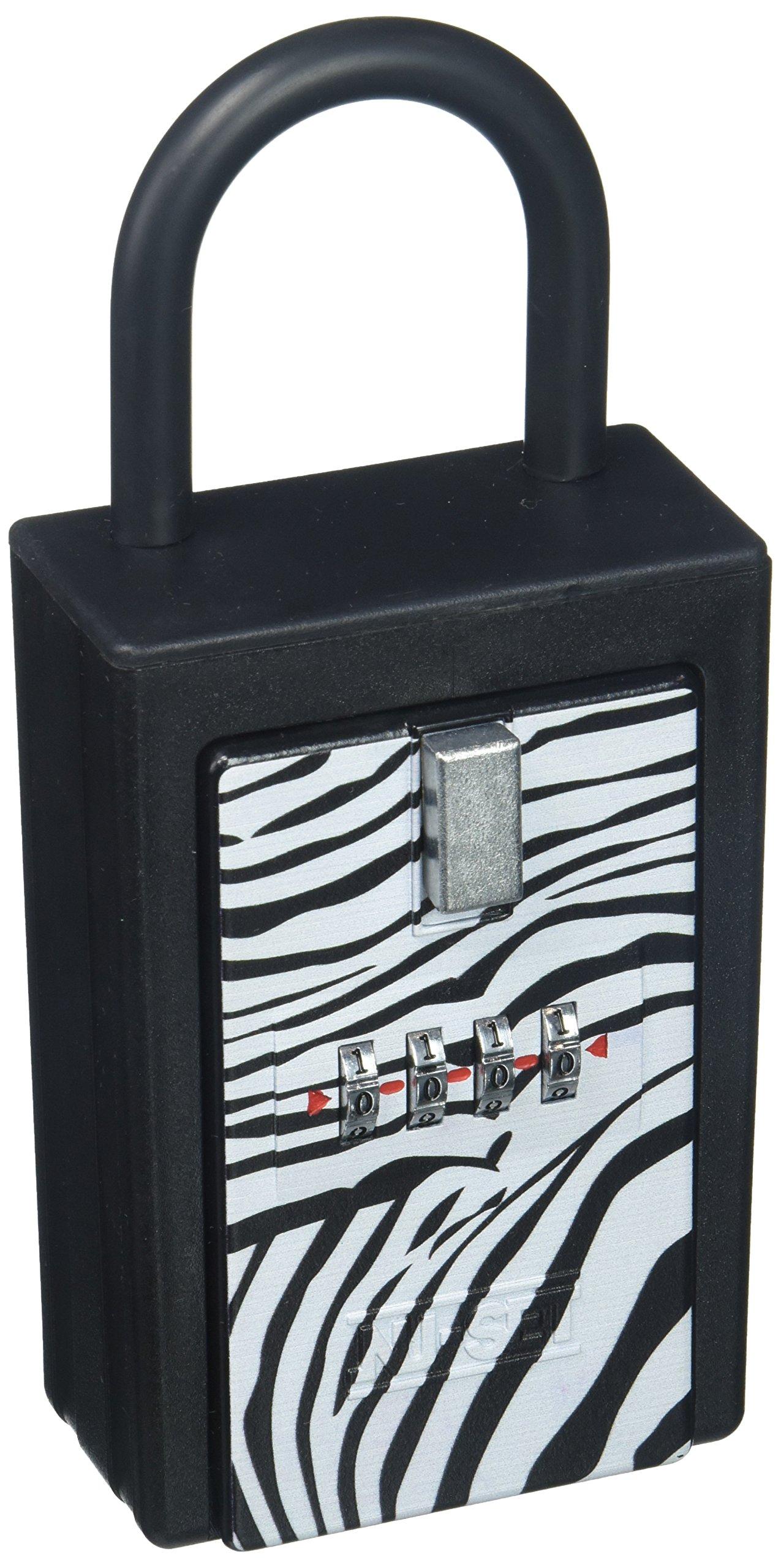 NU-Set 1004-3 Safari NuSet Safari 4 Digit Number Combination Key Card Storage Lockbox in Zebra Print (1004-3)…,