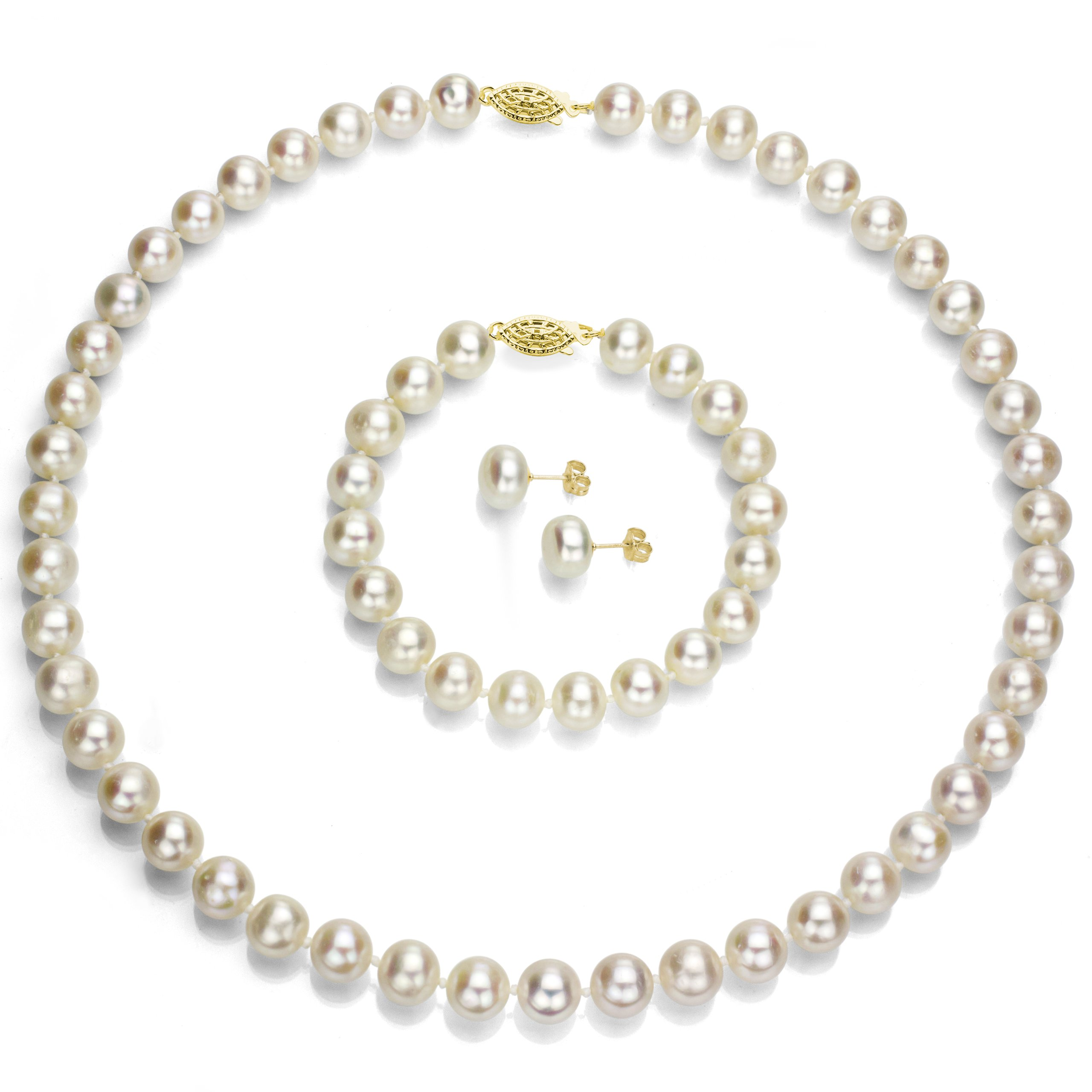 14k Yellow Gold 10-10.5mm White Freshwater Cultured Pearl Necklace 18'', Bracelet 7'', Stud Earrings