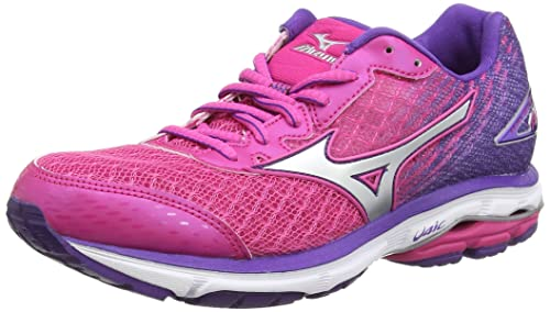 Mizuno Wave Rider 19, Zapatillas de Running para Mujer, Rosa (Fuchsia Silver/Royal Purple), 36 EU: Amazon.es: Zapatos y complementos