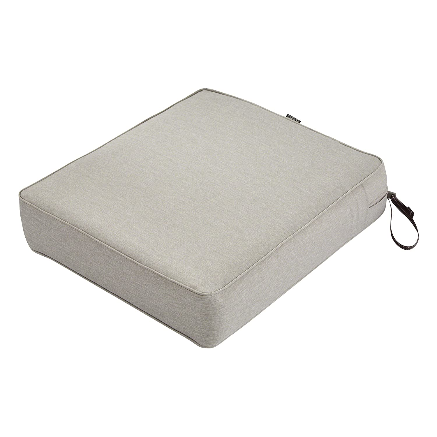 Classic Accessories Montlake Seat Cushion Foam Slip Cover, Heather Grey, 25x27x5 Thick