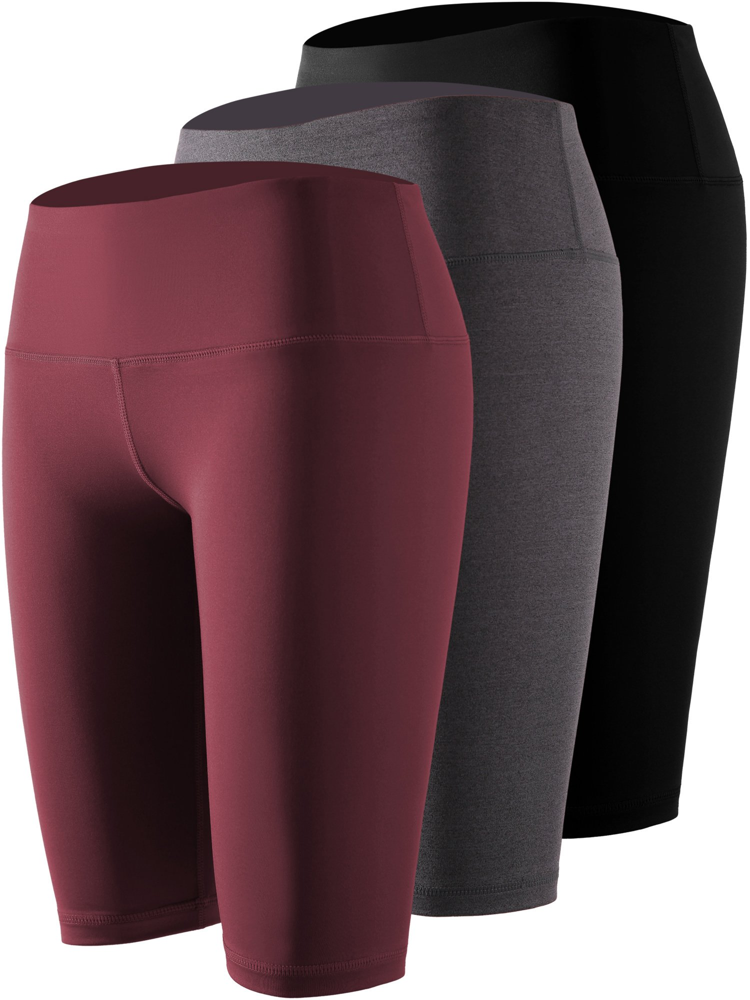 Cadmus Women's 3 Pack Compression Athletic Workout Shorts with Pocket,04,Black,Grey,Wine Red,X-Large by Cadmus