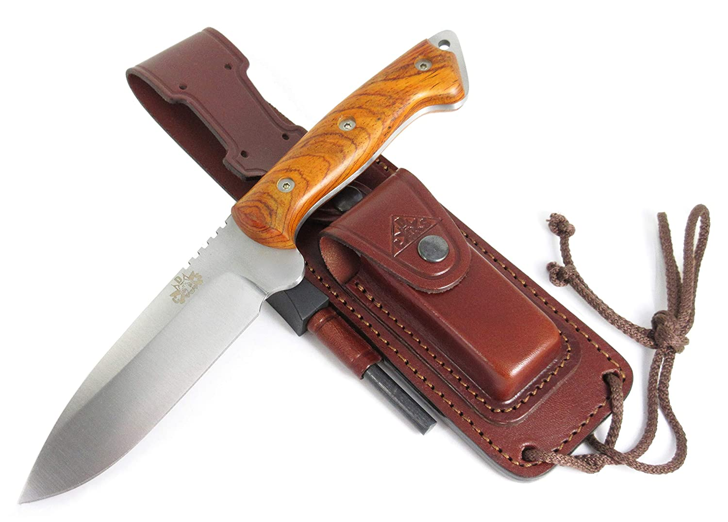 CELTIBEROCOCO – Outdoor Survival Hunting Tactical Knife – Cocobolo Wood Handle, Stainless Steel MOVA-58 with Genuine Leather Multi-positioned Sheath Sharpener Stone Firesteel