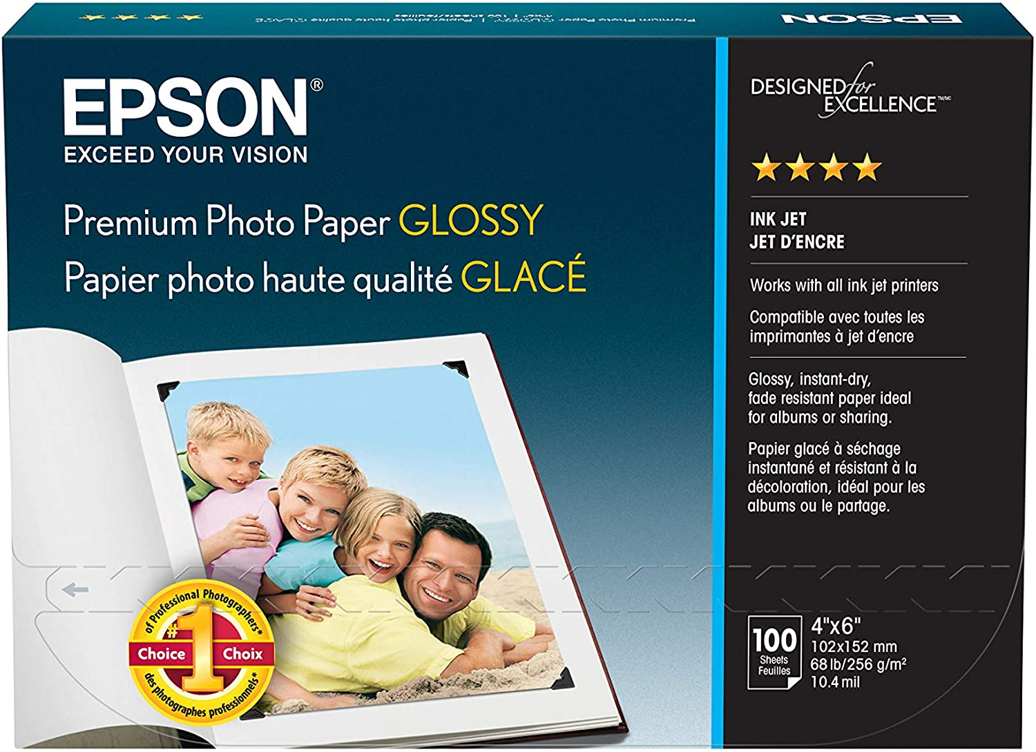 Epson S041727 Premium Photo Paper, 68 lbs., High-Gloss, 4 x 6 (Pack of 100 Sheets),White