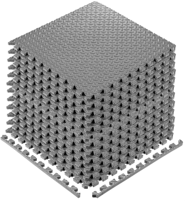 YOGU Puzzle Exercise Floor Mat EVA Interlocking Foam Tiles 12 Tiles Covers 48 SQ Foot Exercise Equipment Mat Protective Flooring for Home Gym (Grey)