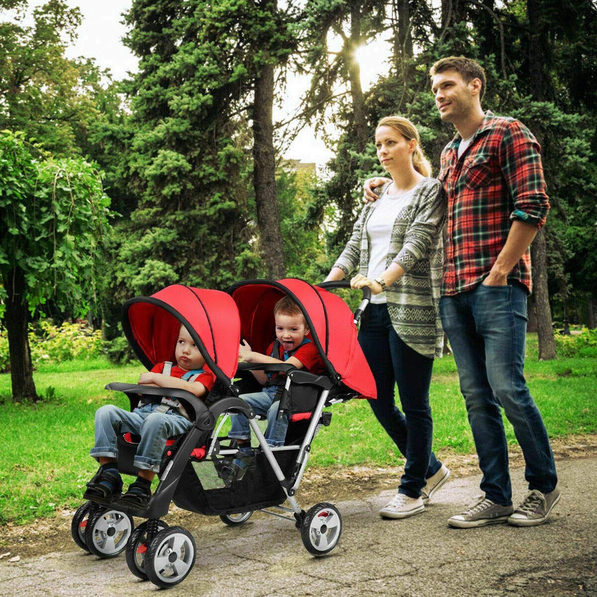 Cozinest Foldable Twin Baby Double Stroller Kids Jogger Travel Infant Pushchair Red by Cozinest (Image #2)