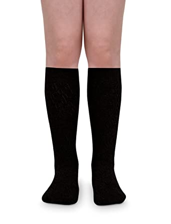 af46c3c55 Jefferies Socks Girls Pointelle Design Knee High Socks 2 Pair Pack (L - USA  Shoe