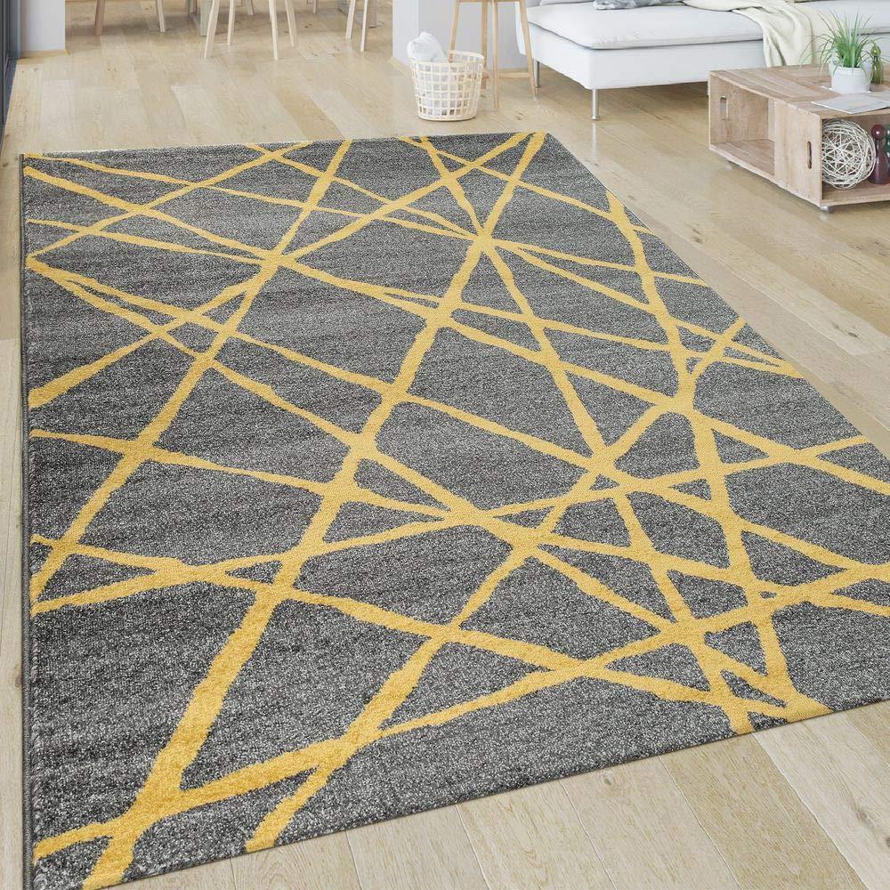 Paco Home Teppich Wohnzimmer Muster Gestreift Modern Kurzflor Abstrakt Linien In Gelb Grau, Grösse 160x230 cm