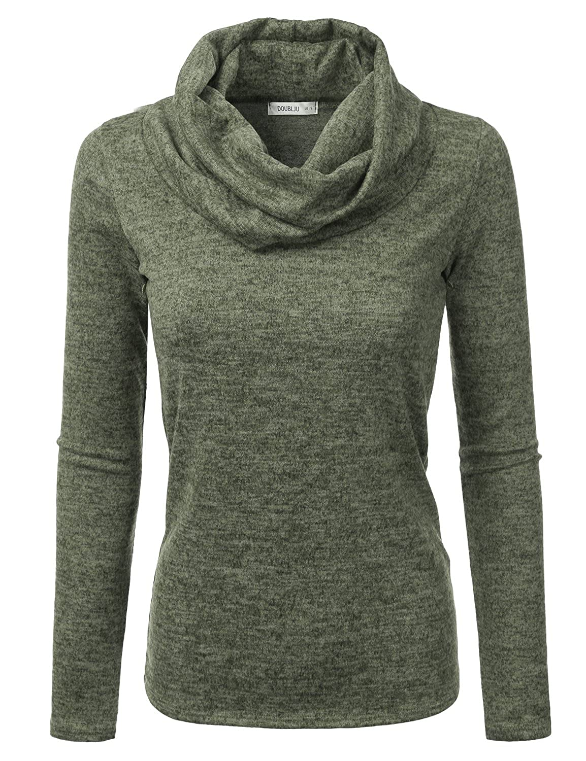 e21a44f3ea9 Doublju Cowl Neck Heather Knit Sweater Top for Women with Plus Size at  Amazon Women s Clothing store