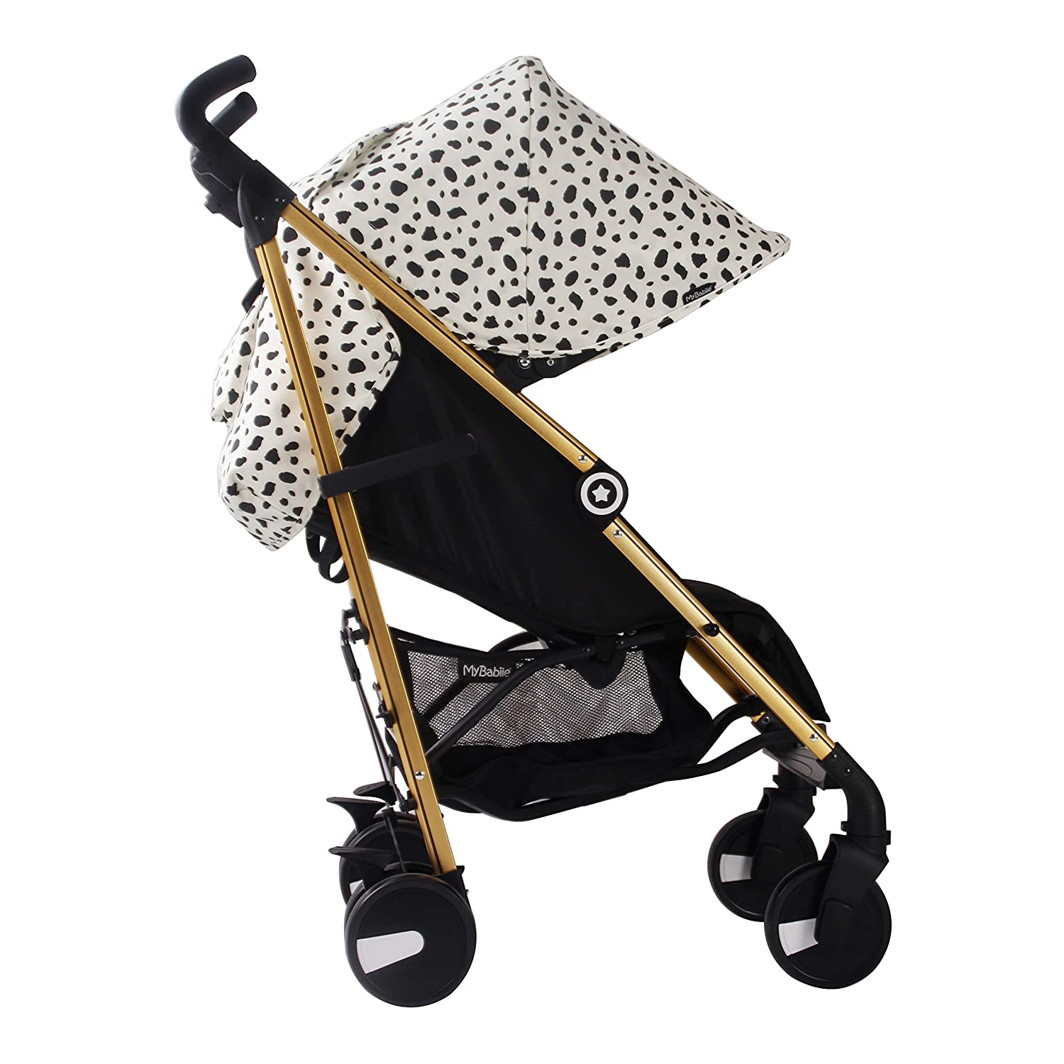My Babiie Catwalk Dalmatian Baby Stroller Lightweight Baby Stroller with Carry Handle Gold Frame and Dalmatian Canopy Suitable from Birth 33 lbs