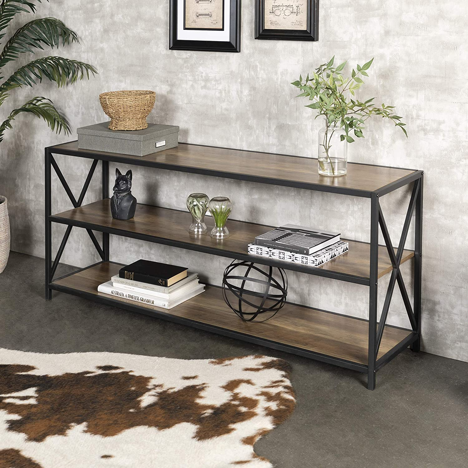 "WE Furniture 60"" Wood Tall Entryway Table TV Stand Console 3 Tier Console Table, Rustic Oak and Black Metal Bookshelf Sofa Table for Living Room"