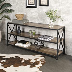 """WE Furniture 60"""" Wood Tall Entryway Table TV Stand Console 3 Tier Console Table, Rustic Oak and Black Metal Bookshelf Sofa Table for Living Room"""