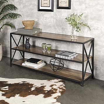 WE Furniture 2 Shelf Industrial Wood Metal Bookcase Bookshelf Storage, 60  Inch, Brown Reclaimed Barnwood