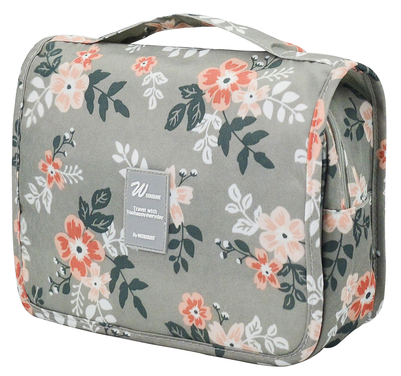 Adigow Hanging Toiletry Bag - Portable Waterproof Cosmetic Makeup Wash Bag for Men & Women - Travel Kit Organizer with Sturdy Hook (Light Grey Flowers)