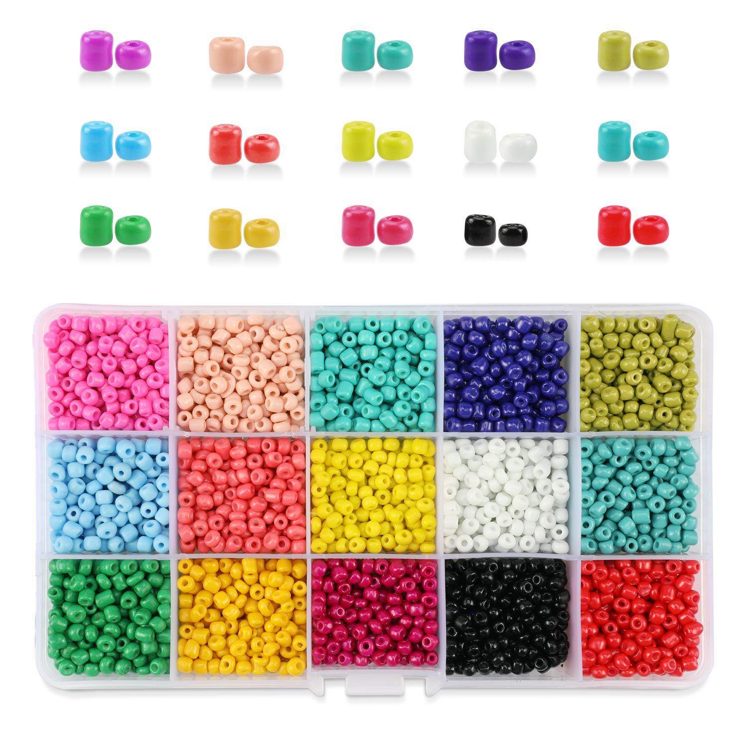 DIY Crafting Hole 1.3mm for Jewelry Making 4mm Round Mixed Colors Small Pony Beads Assorted Kit Opaque Colors Lustered Loose Spacer Beads 15 Colors Phogary 3500pcs Glass Seed Beads