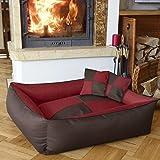 BedDog MAX QUATTRO 2en1, rouge/brun, XXL env. 120x85 cm,Panier corbeille, lit pour chien, coussin de chien