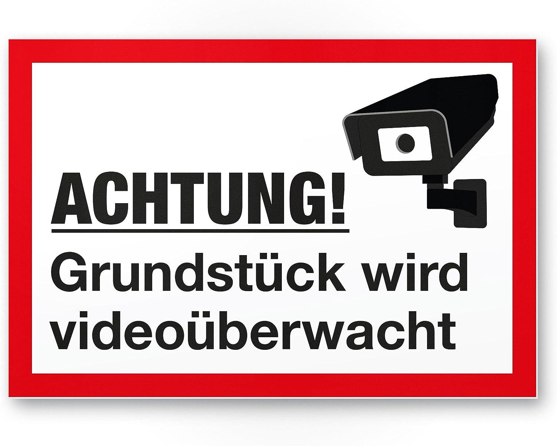 Grundst/ück Alarmgesichert//Video/überwacht Kunststoff Schild Hinweis//Hinweisschild Video/überwacht Achtung//Vorsicht Video/überwachung Warnhinweis