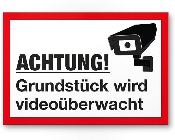 ALUDIBONDSCHILD 15x20cm Privatgrundstück 2 Wahl Videoüberwachung