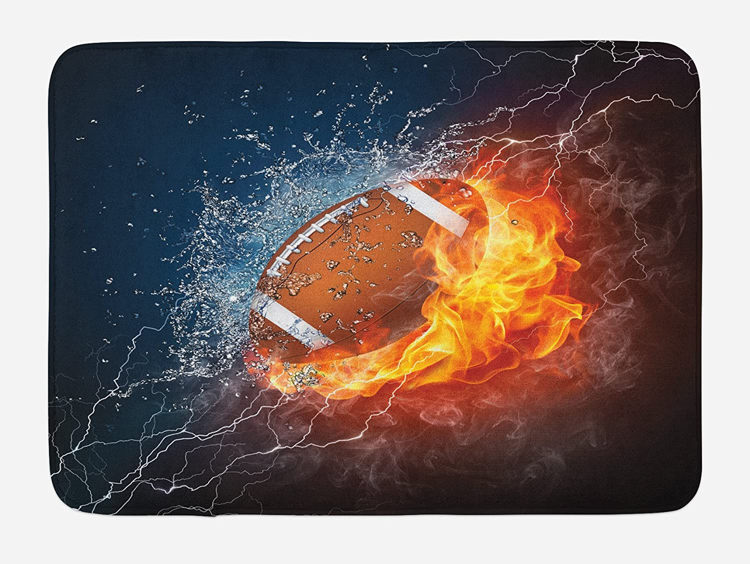 29.5 W X 17.5 W Inches Lunarable Sports Bath Mat Multicolor Plush Bathroom Decor Mat with Non Slip Backing Football on Fire and Water Flame Splashing Thunder Bolt Abstract Conceptual Art