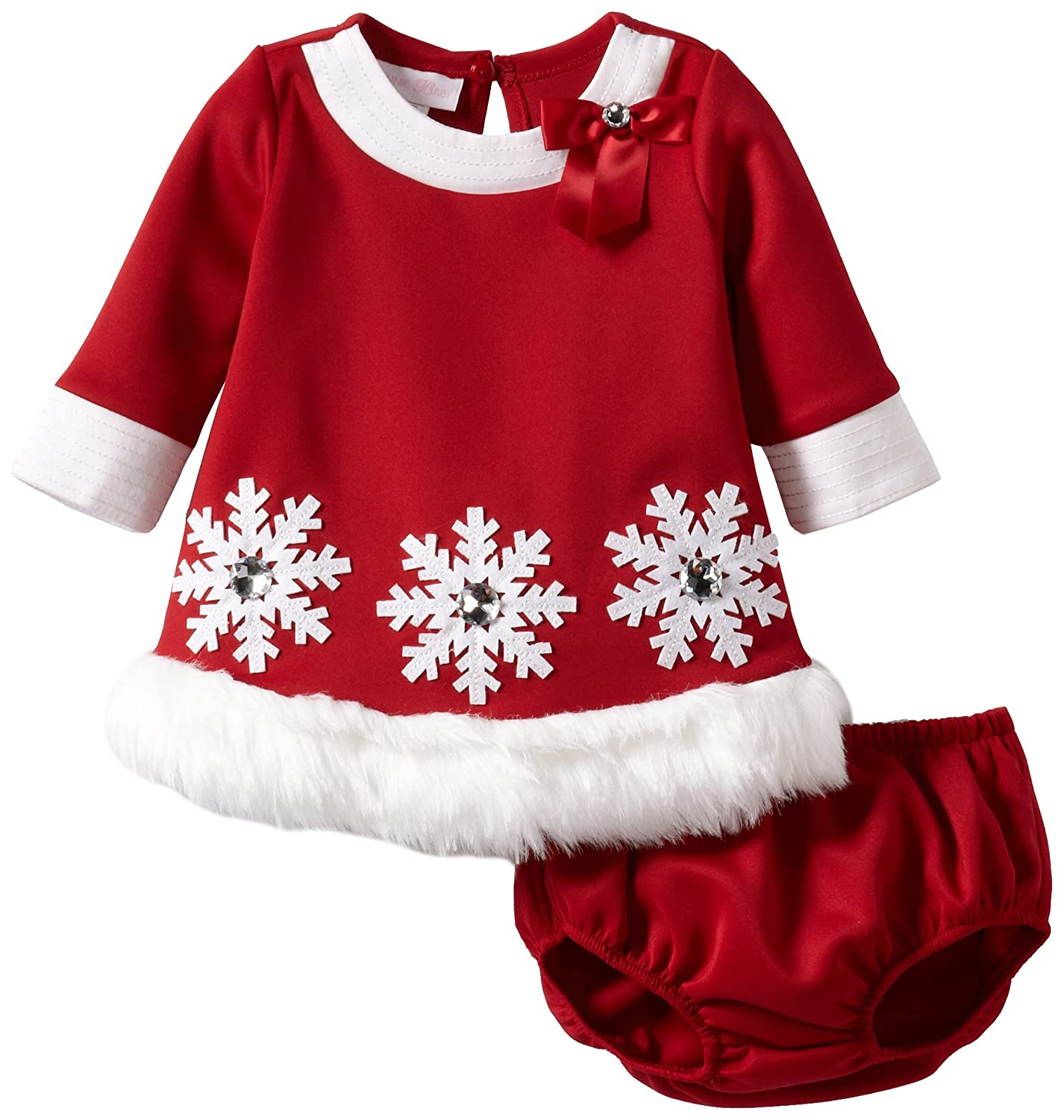 amazoncom bonnie baby girls newborn snowflake applique santa dress red 3 6 months infant and toddler special occasion dresses clothing