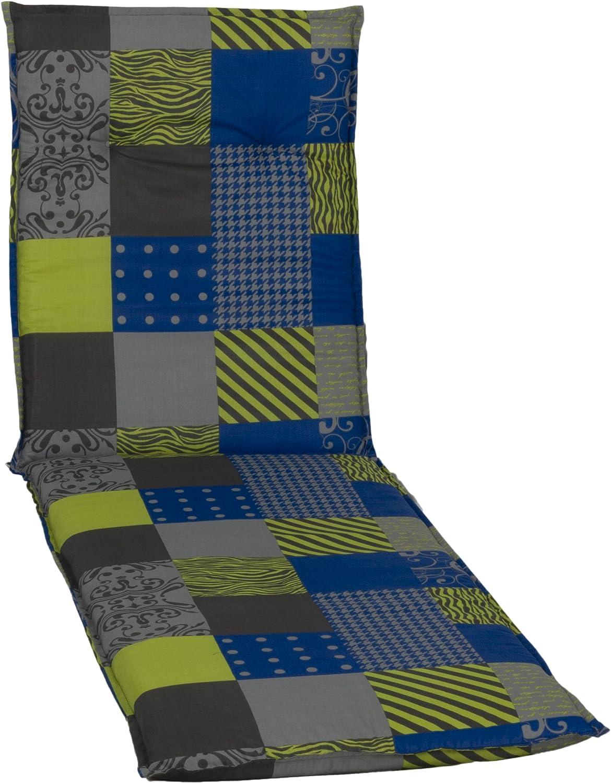 Circa 190/x 58/x 6/cm Colore Blu//Verde//Grigio//Multicolore beo Sedia da Giardino Cuscini Cuscino per Sdraio Design Patchwork