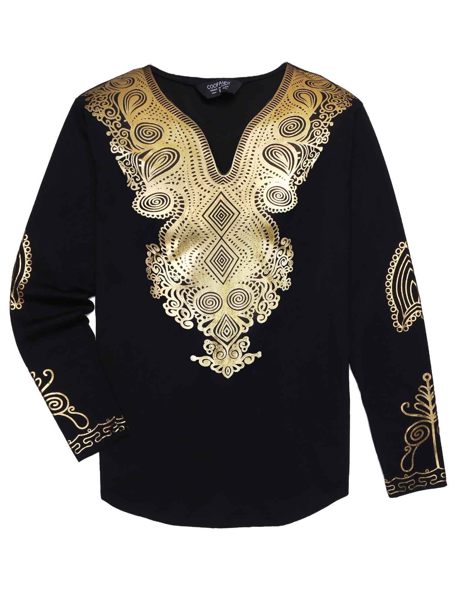 COOFANDY Men's African Print Dashiki T-Shirt Metallic Floral Tribal Festival Tops, Pat3, X-Large