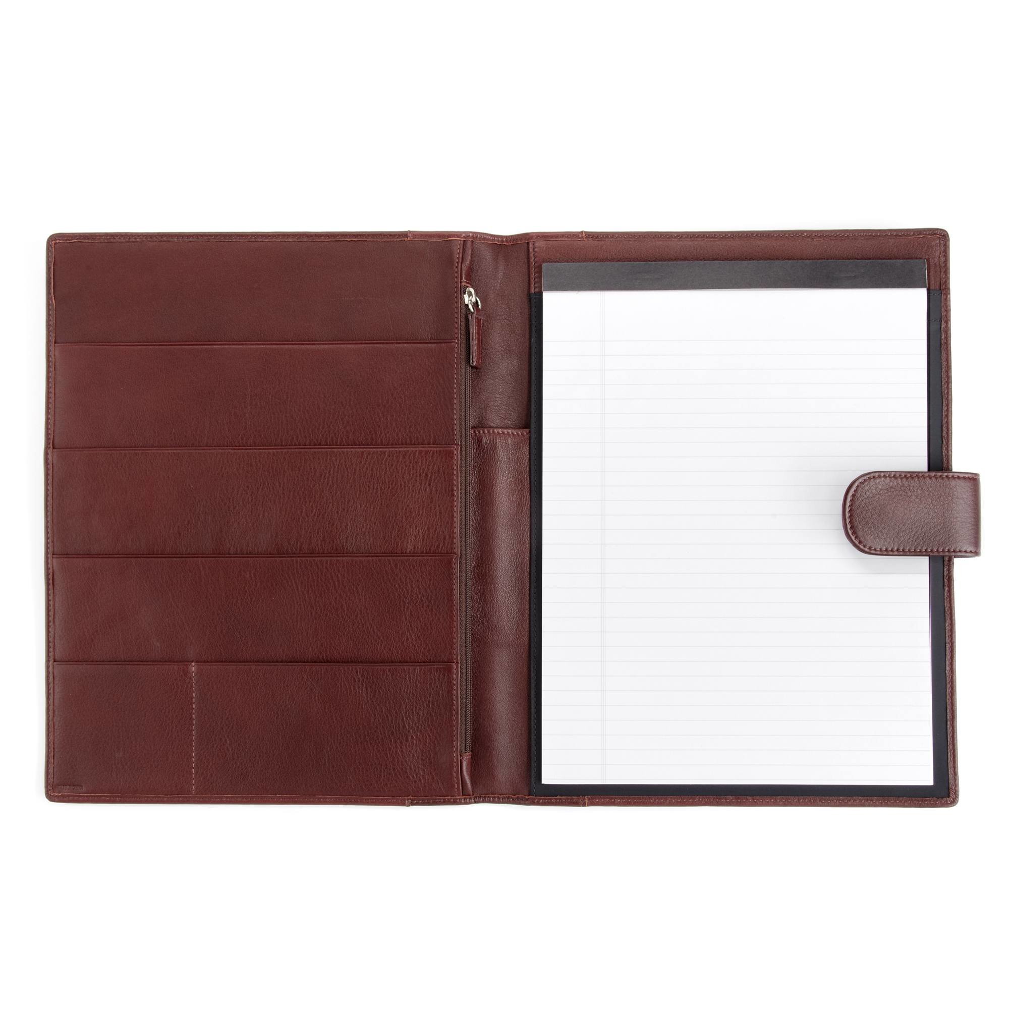 Leatherology Organizer Portfolio with Tablet Pocket & Magnetic Closure - Full Grain Leather - Burgundy (red)