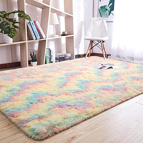 Beglad 5 ft x 8 ft Soft Rainbow Fluffy Area Rug Modern Shaggy Colorful Bedroom Rug