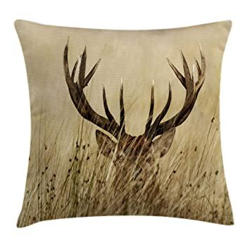 Ambesonne Antler Decor Throw Pillow Cushion Cover, Whitetail Deer Fawn in Wilderness Stag Countryside Rural Hunting Theme, Decorative Square Accent ...