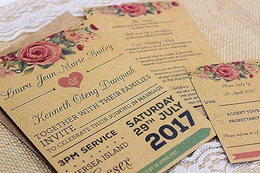Paquetes De Invitaciones De Boda Vintage Diseño Floral Kraft