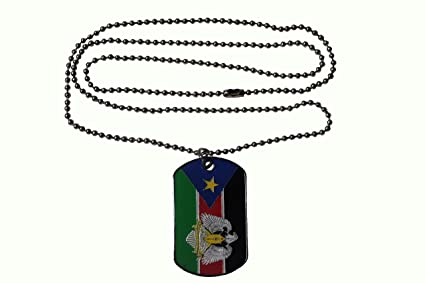 REPUBLIC OF SOUTH SUDAN Country Flag DOG TAG Metal NECKLACE With 14 Inch CHAIN Transportation