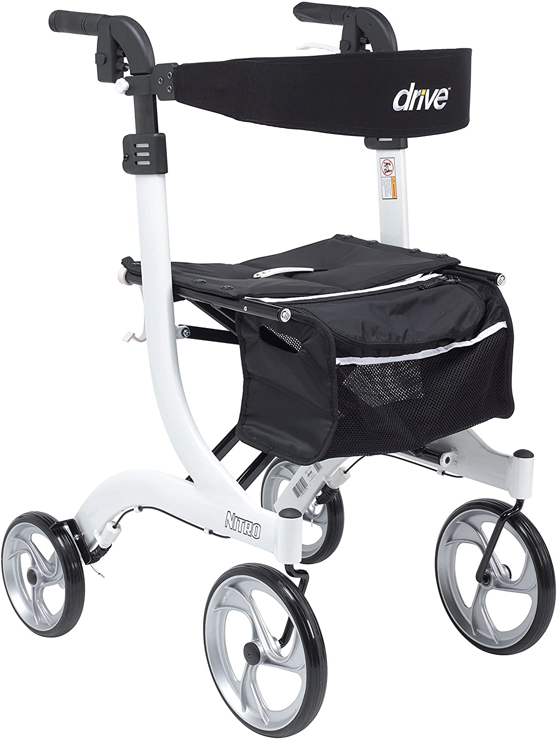 Drive Medical RTL10266WT-T Nitro Euro Style Walker Rollator, Tall, White 81LL4A0m-NL