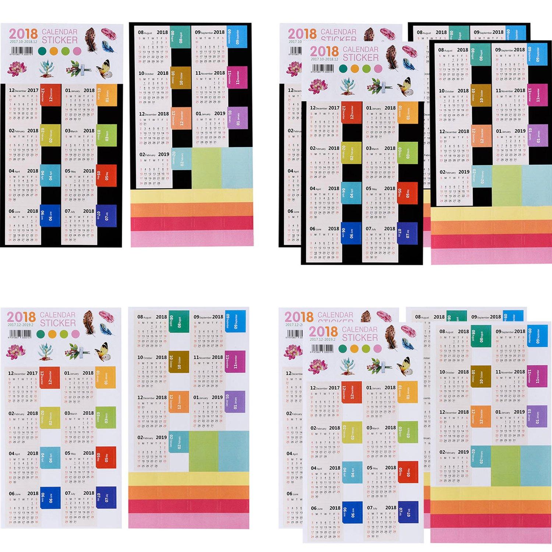 mtlee 12 hojas 2018 Calendarios pegatinas autoadhesivas, índice de ...