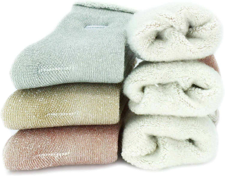 YZKKE 3Pack Womens Super Thick Wool Warm Socks - Soft Comfort Casual Crew Winter Socks Gifts