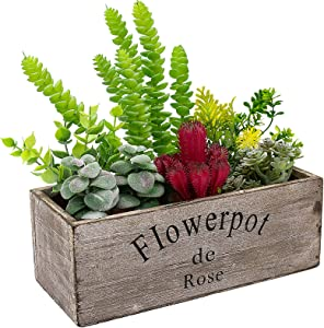 Hopewood Fake Succulent for Wood Planter Boxes, Artificial Succulents Plants in pots 8 Pcs, Succulent Fake for Wood Table top Decor, Mixed & Assembled Artificial Plants for Home Office Garden Decor
